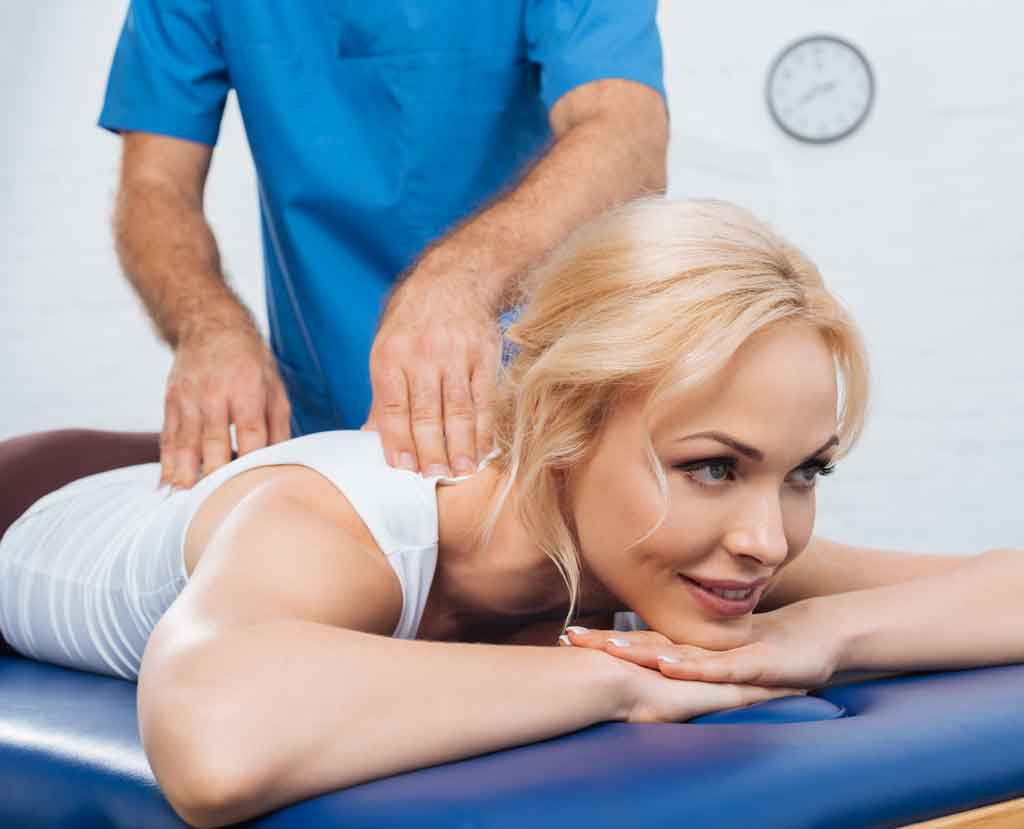 woman on masage table receiving Bowen Technique treatment in Shawlands in Glasgow